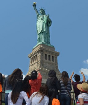 The girls visit the Statue of Liberty