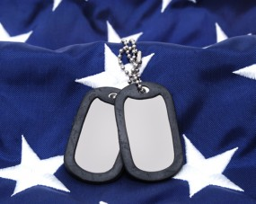 dog tags and american flag