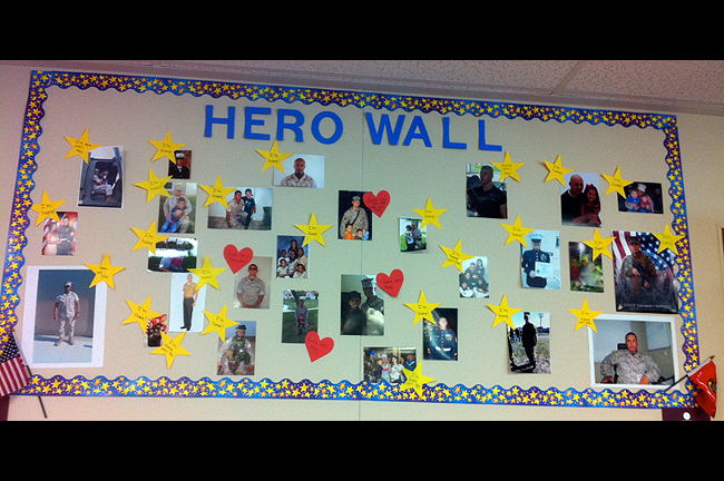 A school bulletin board honors military families.